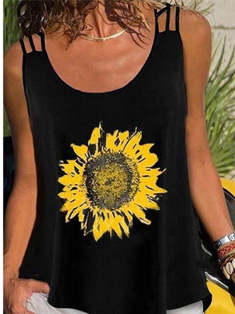 Black Floral Sleeveless Floral-Print Shirts & Tops