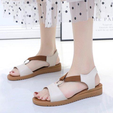 Women Slide Peep Toe Date Pu Wedge Heel Sandals