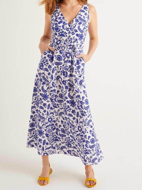 Blue Cotton-Blend Short Sleeve V Neck Casual Dresses
