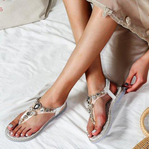 Elastic Band Rhinestone Slip-On Comfy Thong Sandals