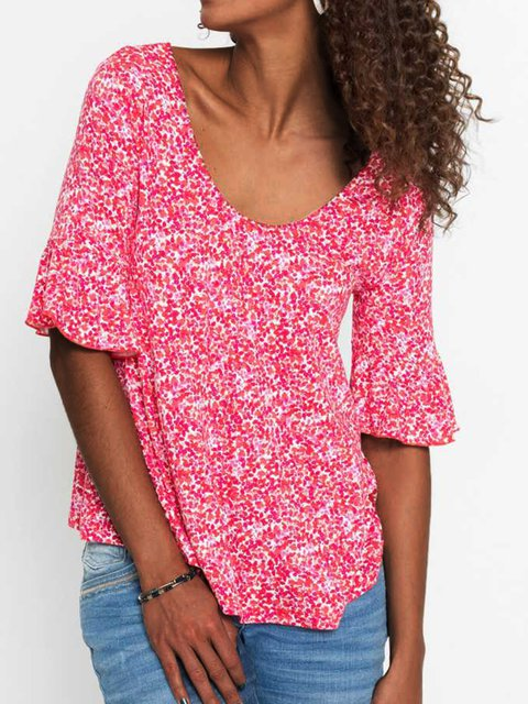 Scoop Neckline  Floral Half Sleeve Shirts & Tops