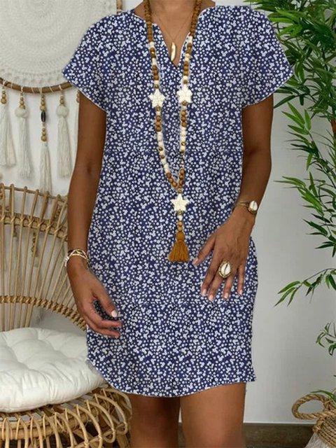 Navy Blue Casual Cotton-Blend Dresses