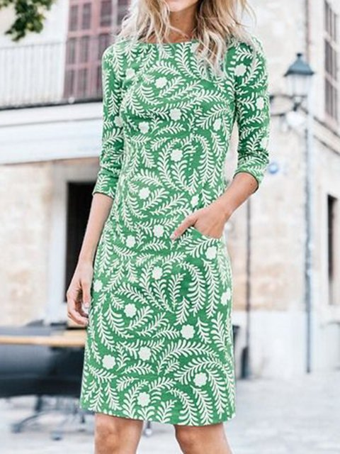 Women Pockets Leaves Printed 3/4 Sleeves Sheath Dresses