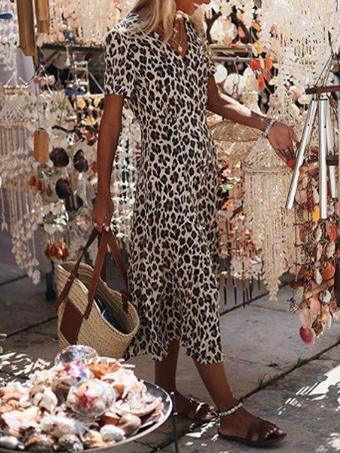 Leopard V Neck Short Sleeve Casual Patchwork Dresses
