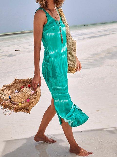 Gradient printed casual split dress
