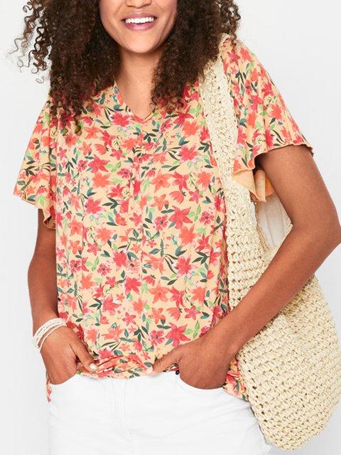 Multicolor Short Sleeve Floral V Neck Shirts & Tops