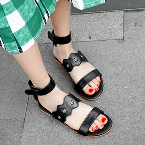 Magic Tape Low Heel Open Toe Pu Summer Sandals