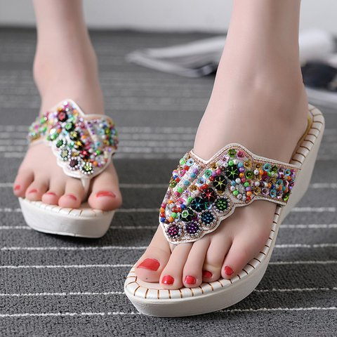 Women PU Slide Wedge Heel Thong Sandals Beading Daily Shoes