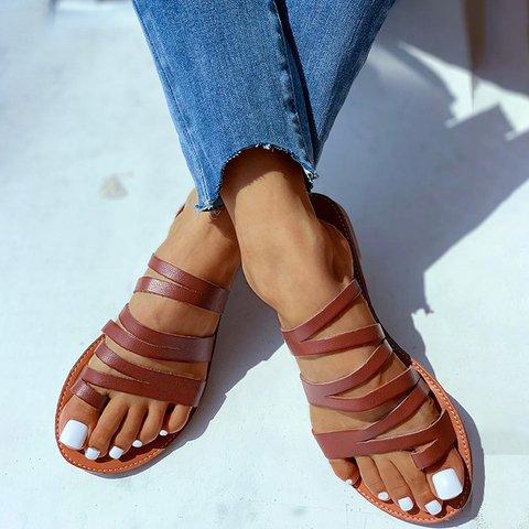 Thin Stripped Toe Beach Slippers