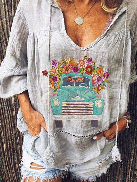 Gray Floral Vintage Shirts & Tops