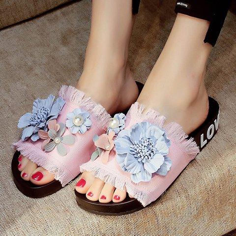 Women Slide Working Canvas Flower Flat Heel Sandals