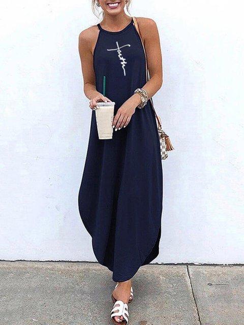 Dark Blue Casual Holiday Sleeveless Halter Letter Printed Dresses