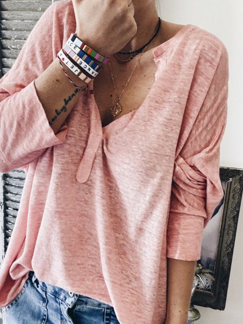Solid 3/4 Sleeve Casual Shirts & Tops