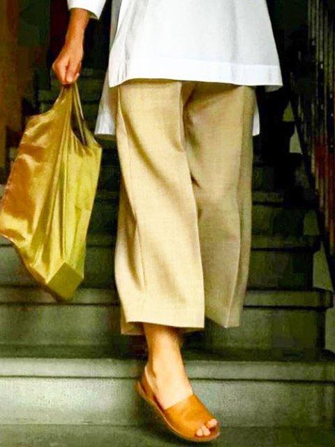 Khaki Linen Casual Pants