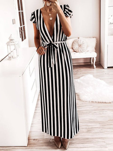 Striped Sexy Deep V Waist Bandage Casual Dress