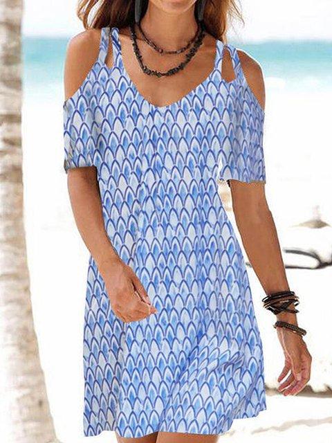 Print Cold Shoulder V-neck Casual Dresses