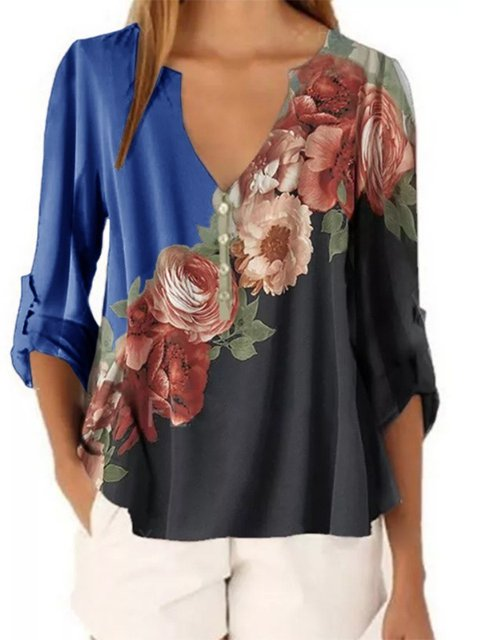 Shift 3/4 Sleeve V Neck Shirts & Tops