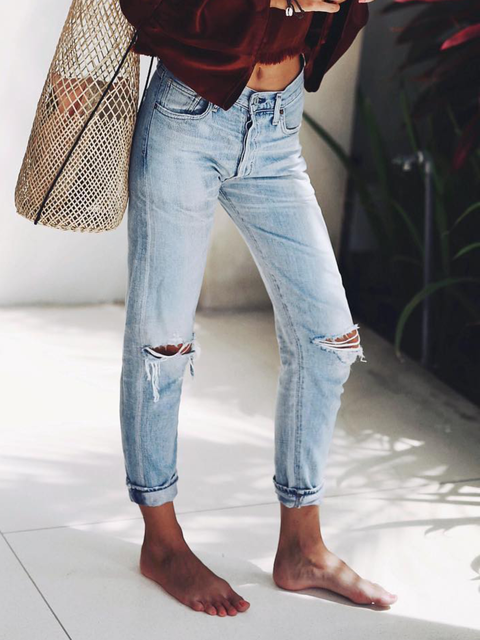 Plus size Solid Casual Denim Ripped Jeans