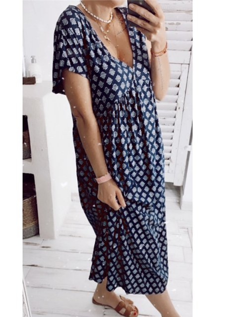 Printed Short Sleeve Geometric Dresses