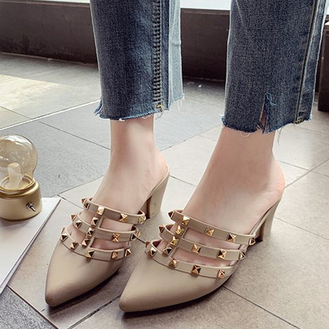 Wedge Heel Rivet Artificial Leather Closed Toe Slippers