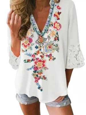 Boho Half Sleeve Shirts & Tops