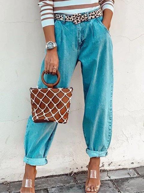 Blue Plain Denim Casual Shift Pants
