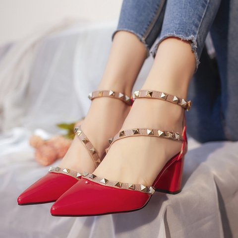 Pu Chunky Heel Rivet Ankle Strap Sandals All Season Shoes