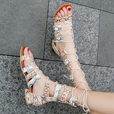 Lace-Up Low Heel Summer Open Toe Strappy Gladiator Sandals