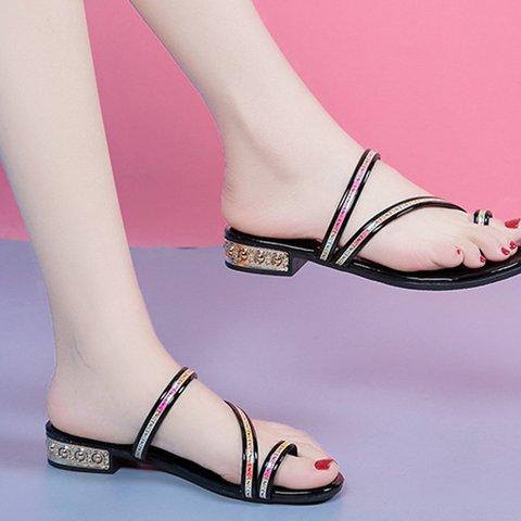 Slip-On Low Heel Flip-flops Pu Casual Slippers