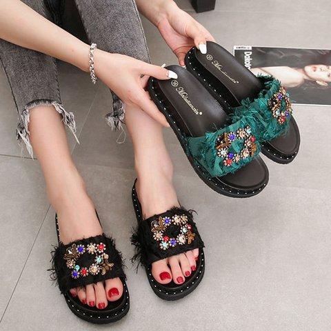 Rhinestone Slip-On Cloth Open Toe Casual Slippers