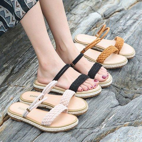 Slip-On Flat Heel Open Toe Boho Espadrille Sandals