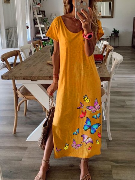Yellow Animal Casual Dresses