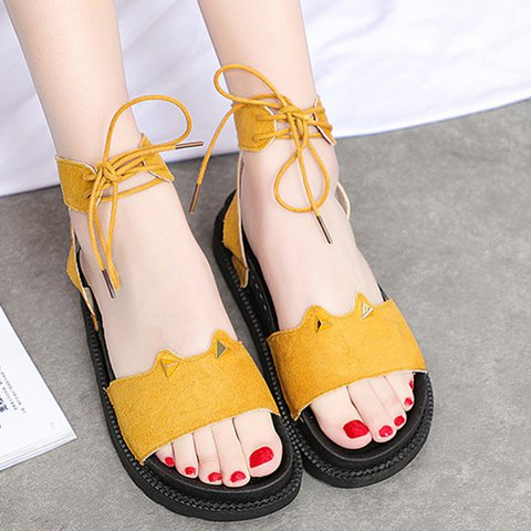 Lace-Up Flat Heel Summer Artificial Suede Sandals