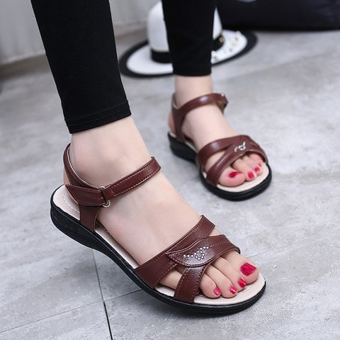 Women Low Heel Magic Tape Open Toe Sandals