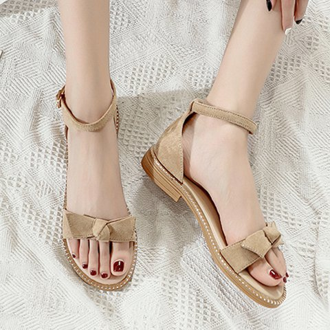 Flat Heel Buckle Strap Bowknot Summer Ankle Strap Sandals