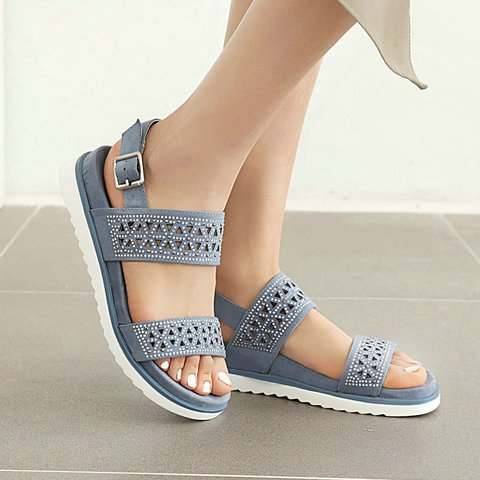Artificial Leather Hollow-Out Summer Flat Heel Sandals
