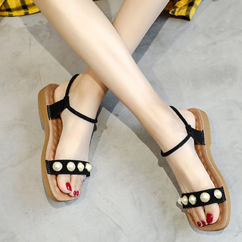 Low Heel Artificial Leather Soft Plus Size Sandals