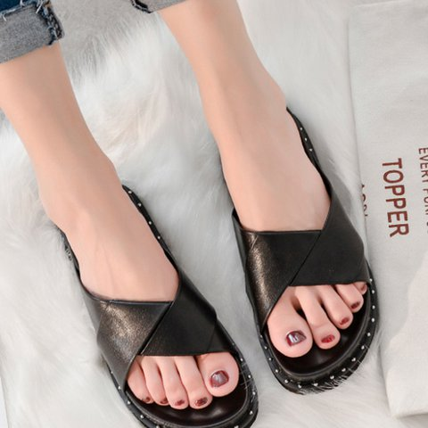 Artificial Leather Open Toe Womens Slide Slippers