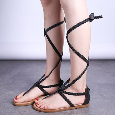 Artificial Leather Braided Strap Flip-flops Strappy Summer Sandals