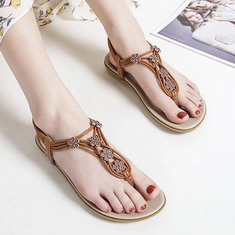 Summer Artificial Leather Flip-flops Elastic Band Thong Sandals