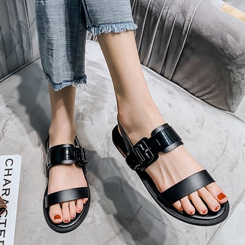 Buckle Flat Heel Open Toe Casual Sandals