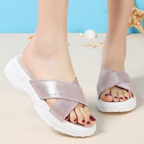 Women Flat Heel Open Toe Cross Soft Slippers