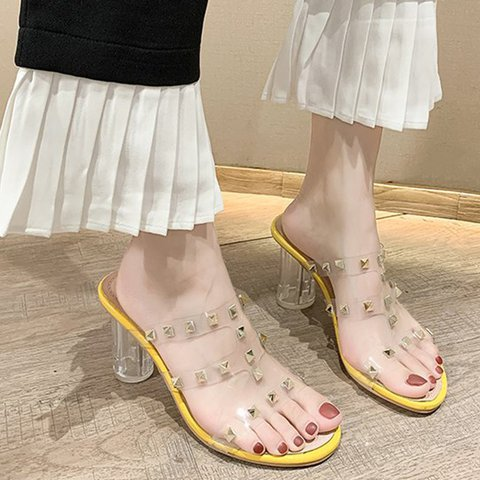 Rivet Chunky Heel Slide Sandals PVC T-Strap Transparent Heels