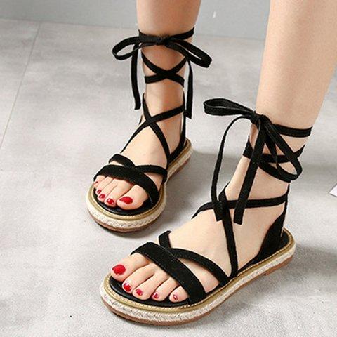 Flat Heel Artificial Suede Strappy Boho Sandals