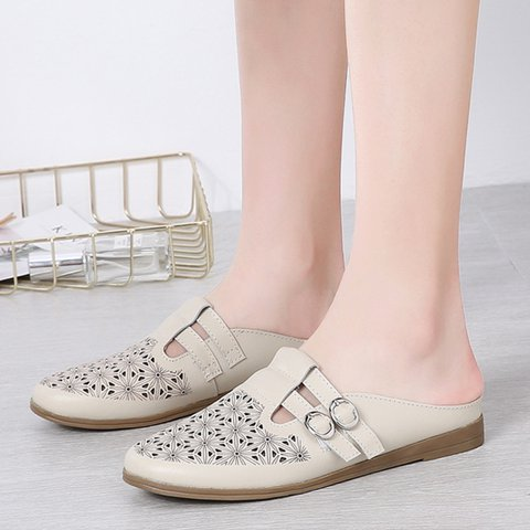 Comfy Buckle Slip-On Closed Toe Hollow Out Slippers