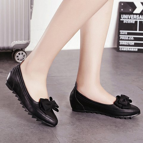 Black Soft Slip-On Bowknot All Season Pu Flats