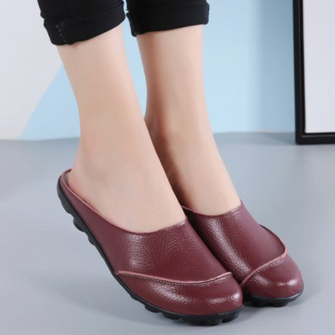 Women Comfy Closed Toe Slip-On Flat Heel Slippers