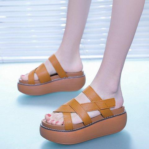 Pu Platform Slide Sandals Open Toe Comfy Slippers