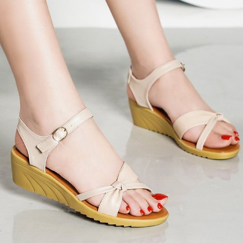 Apricot Bowknot Wedge Heel Adjustable Buckle Sandals