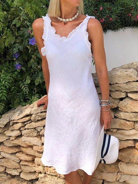 Women Caftan Ruffled Solid Casual Linen Dresses